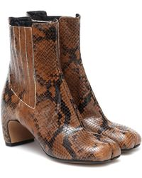 Maison Margiela Tabi Snake-effect Leather Ankle Boots - Brown