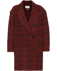 Étoile Isabel Marant Ebra Plaid Wool-blend Coat - Red
