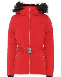 Veste de ski Najy à capuche à fourrure synthétique Rouge