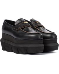Sacai Plateau-Loafers aus Leder - Schwarz