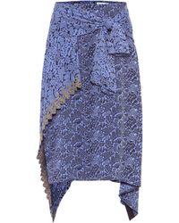 Chloé Asymmetric Jacquard Skirt - Blue