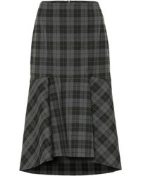 Balenciaga Checked Wool-blend Midi Skirt - Black