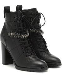 Jimmy Choo Cruz 95 Leather Ankle Boots - Black