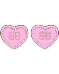 Balenciaga Ohrringe Crush mit Kristallen - Pink