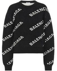 Balenciaga Jacquard Logo Wool Blend Sweater - Black