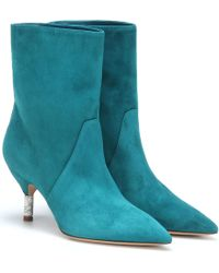 Gabriela Hearst Mariana Suede Ankle Boots - Blue