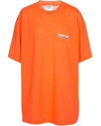 Balenciaga Bedrucktes T-Shirt aus Jersey - Orange