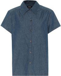 A.P.C. Camisa Cléo de jeans a cuadros - Azul