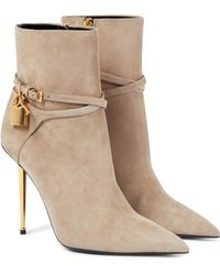 Tom Ford Padlock Suede Ankle Boots - Natural