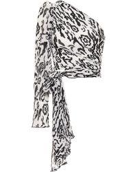 Self-Portrait Leopard-print Plisse Chiffon Top - White