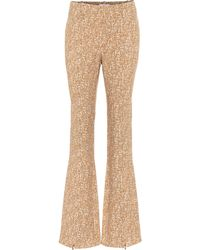 Chloé Printed Flared Crêpe Trousers - Brown
