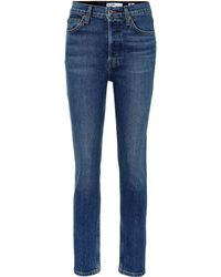 RE/DONE Cropped High-rise Skinny Jeans - Blue