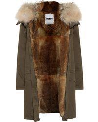 Yves Salomon Army Fur-trimmed Cotton Parka - Green