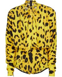 Dolce & Gabbana Bedruckter Body aus Georgette - Gelb