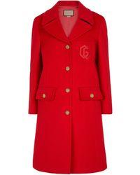 Gucci Abrigo de lana de botonadura simple - Rojo