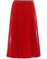 Fendi Jupe plissée en vinyle - Rouge