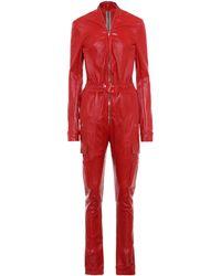 Rick Owens Lilies Jumpsuit aus Leder - Rot