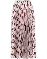 Valentino Printed Pleated Silk Midi Skirt - Multicolour