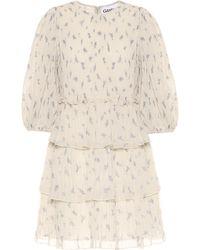 Ganni Minikleid aus Georgette - Weiß