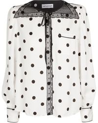 Self-Portrait Bluse mit Polka-Dots und Spitze - Weiß