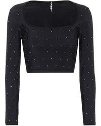 Adam Selman Sport Embellished Crop Top - Black
