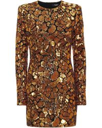 Balmain Sequined Minidress - Brown
