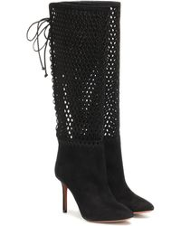 Alaïa Perforated Suede Knee-high Boots - Black