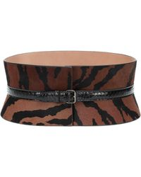 Alaïa Calf Hair And Snakeskin Belt - Black