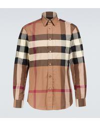 Burberry Camisa de cuadros de manga larga - Marrón