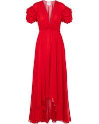 Giambattista Valli Ruffled Silk Crêpe Gown - Red