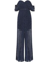Self-Portrait Off-the-shoulder Polka-dot Jumpsuit - Blue