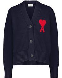 AMI Cardigan Ami de Cœur in cotone e lana - Blu