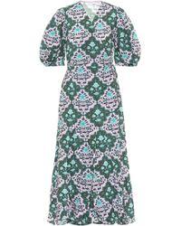 RHODE Exklusiv bei Mytheresa – Wickelkleid Fiona aus Baumwolle - Grün