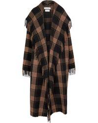 Balenciaga Karierter Mantel aus einem Wollgemisch - Braun