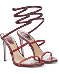 Rene Caovilla Verzierte Sandalen Cleo aus Leder - Rot