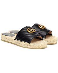 Gucci Sandales espadrilles en cuir - Noir