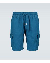Vilebrequin Cargo-Shorts Baie aus Leinen - Blau