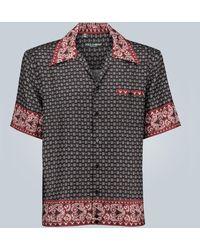 Dolce & Gabbana Seidenhemd mit Hawaii Bandana-Print - Blau