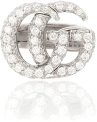Gucci Aretes de oro de 18 kt y diamantes Double G - Metálico