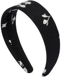 Erdem Floral-embroidered Headband - Black
