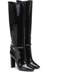 Saint Laurent 76 Patent Leather Knee-high Boots - Black