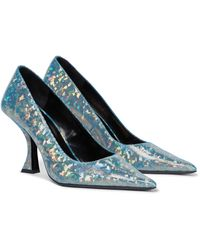 BY FAR Viva Holographic Leather Court Shoes - Blue