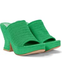 Bottega Veneta Wedge Knit Platform Sandals - Green