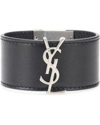 Saint Laurent Verziertes Armband aus Leder - Schwarz