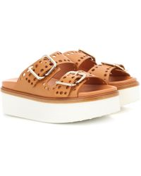 Tod's - Perforated Leather Platform Slides - Lyst