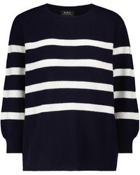 A.P.C. Striped Wool And Cotton Jumper - Blue