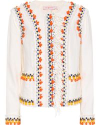 """Tory Burch Embroidered """"eleanor"""" Linen Jacket - White"""
