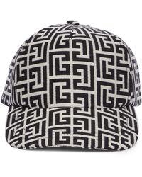 Balmain Monogram Cotton Baseball Cap - Black
