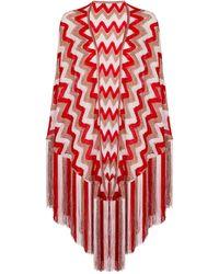 Missoni Zig-zag Knit Shawl - Red