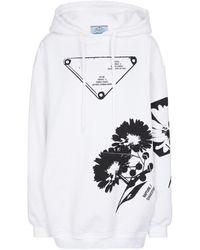 Prada Sweat-shirt à capuche imprimé en coton - Blanc